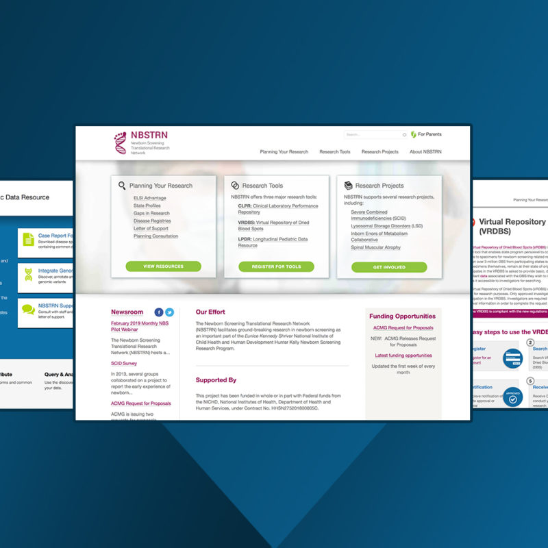 Three screens of pages from the NBSTRN sites
