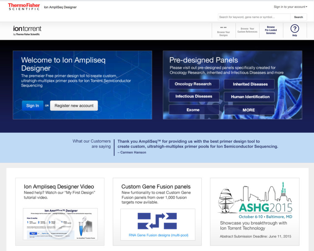 Ampliseq Ion Torrent home page