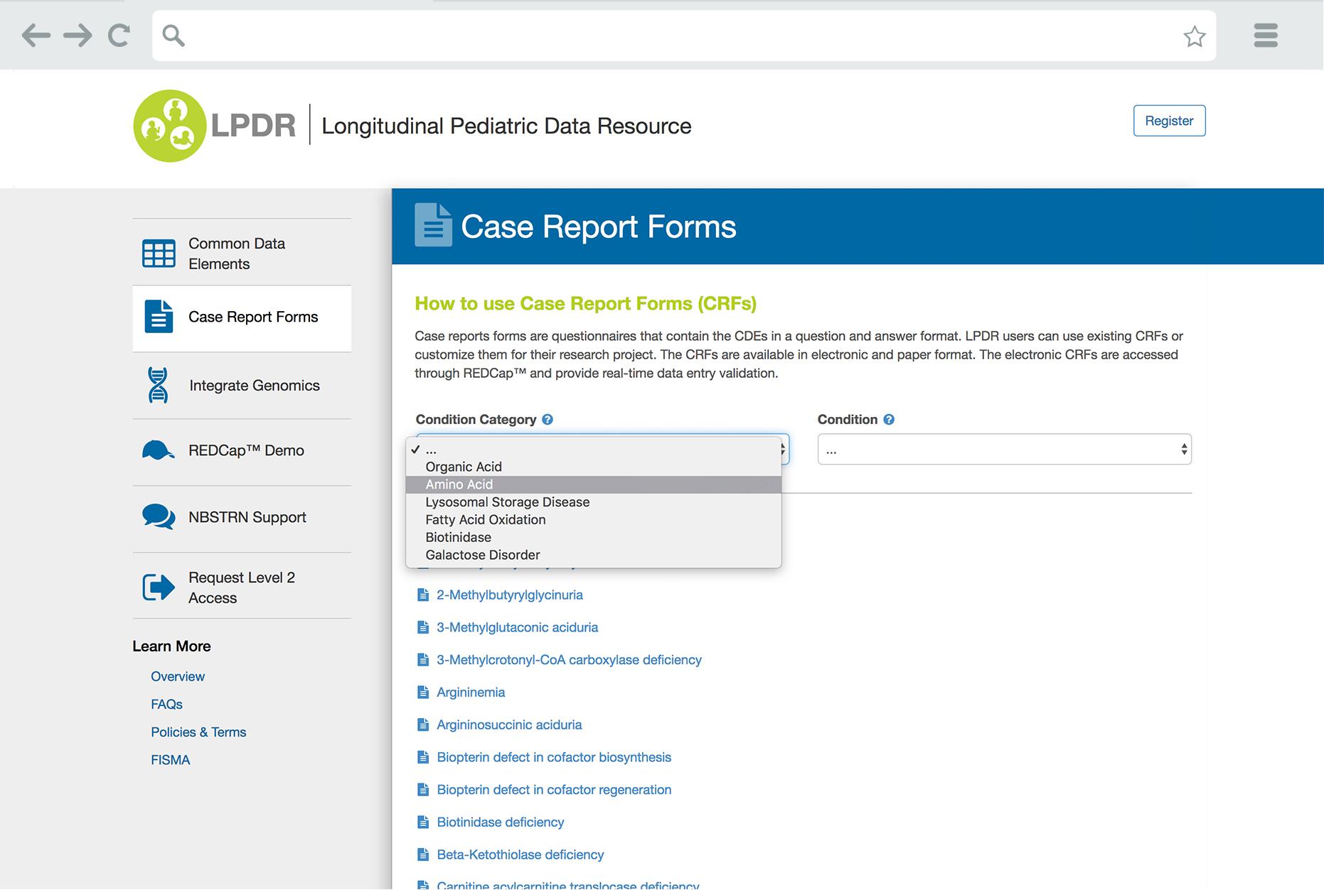 LPDR Case Report Forms Page