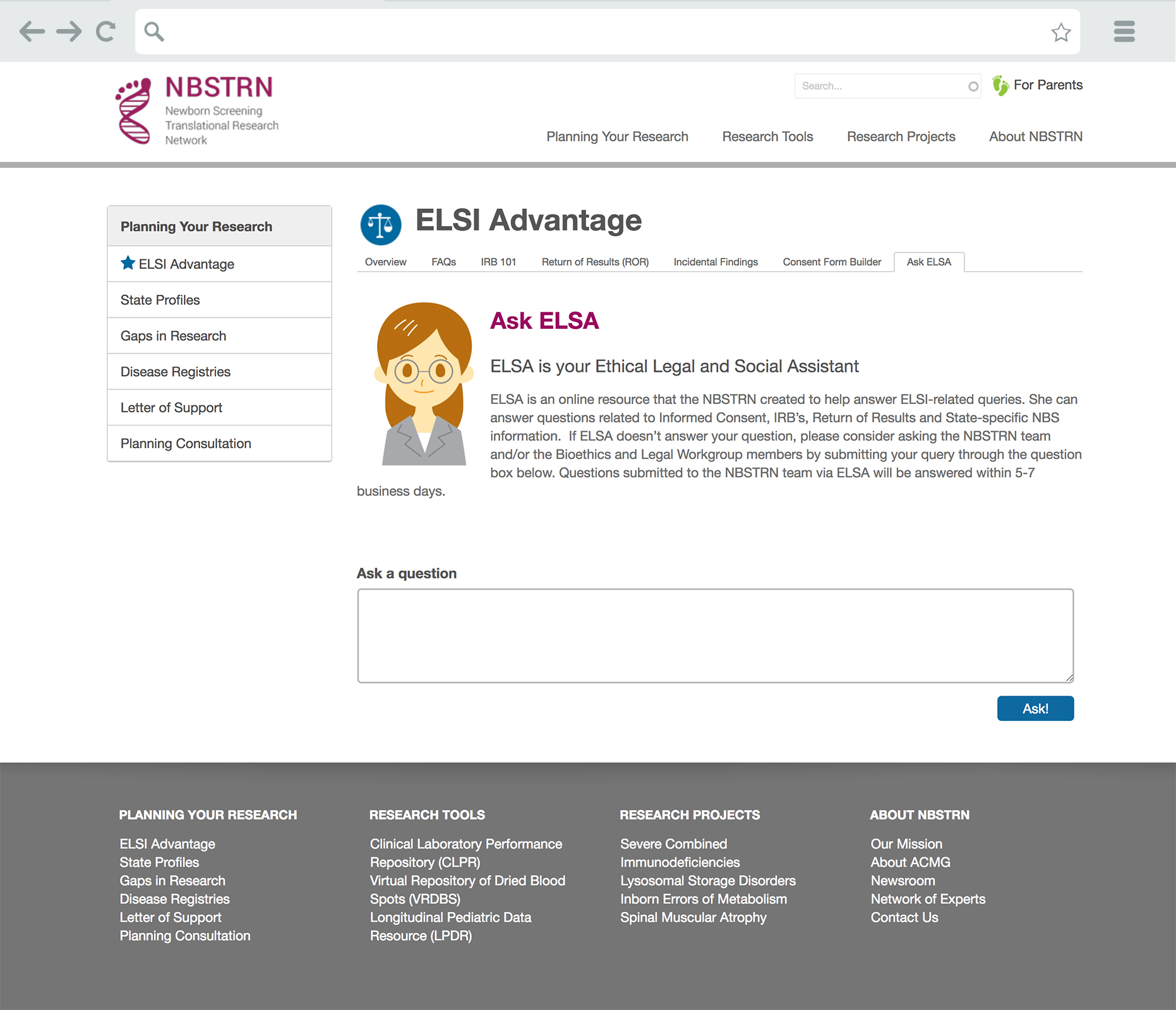 NBSTRN Research Planning ELSI Advantage Page for Ask ELSA